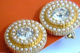NAPIER ELEGANT GOLD TONE WHITE PEARL FAUX CRYSTAL SCREW CLIP EARRINGS $0 SH - $55.96