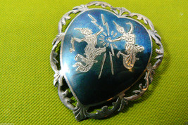 "Vtg Siam Thailand Niello Sterling Silver Dancers Pin Brooch Heart Shape 1.25""L - $125.00"