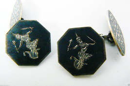 VINTAGE STERLING SILVER 925 OXIDISED BLACK NIELLO SIAM DANCER CUFF LINKS - $62.10