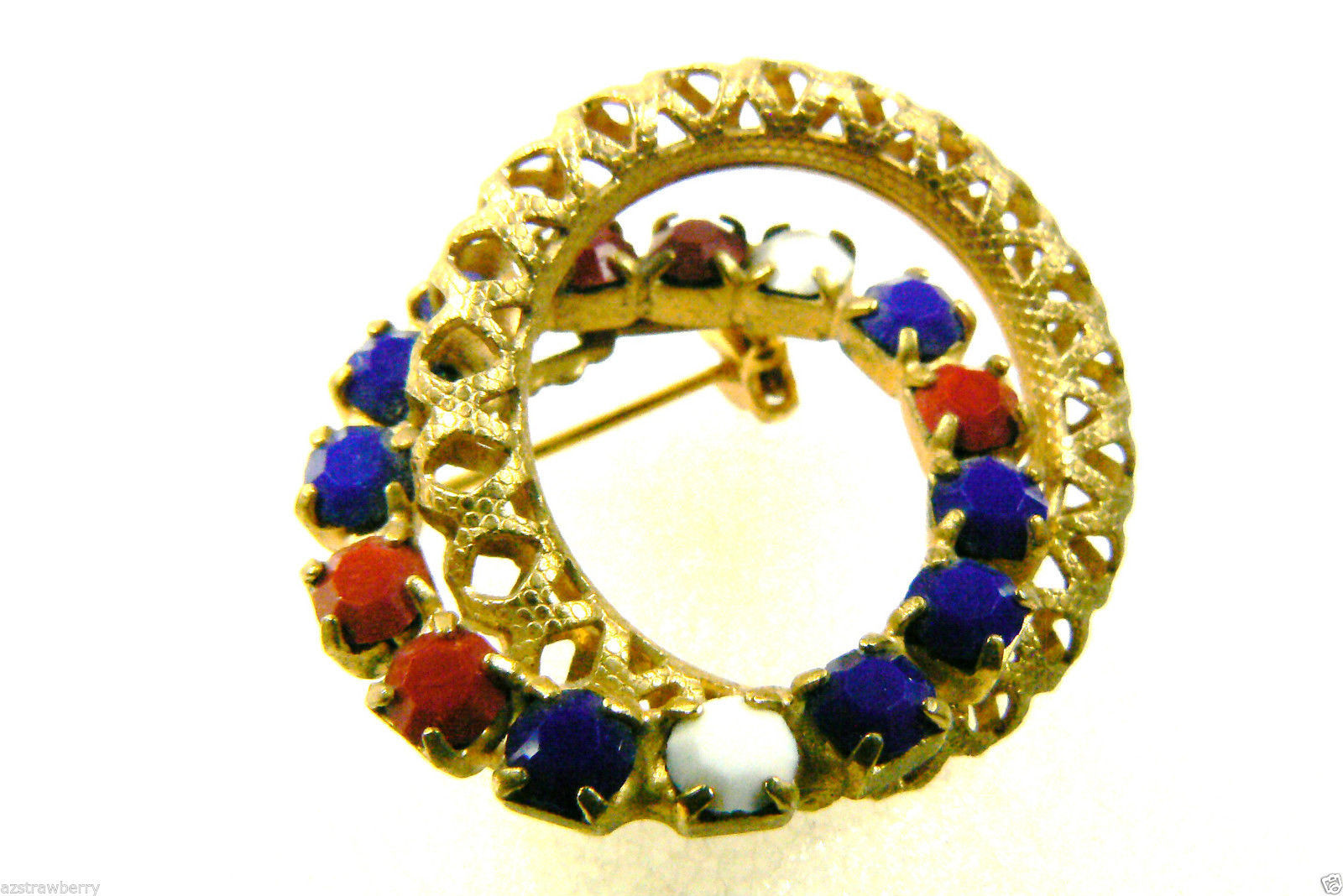 Primary image for Vintage Goldtone metal red white cobalt blue glasss rhinestone Wreath pin brooch