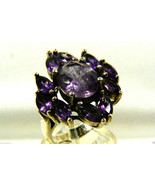 Large Sterling silver 925 Amethyst Marquise and brilliand cut Sz 5.5 - $89.00