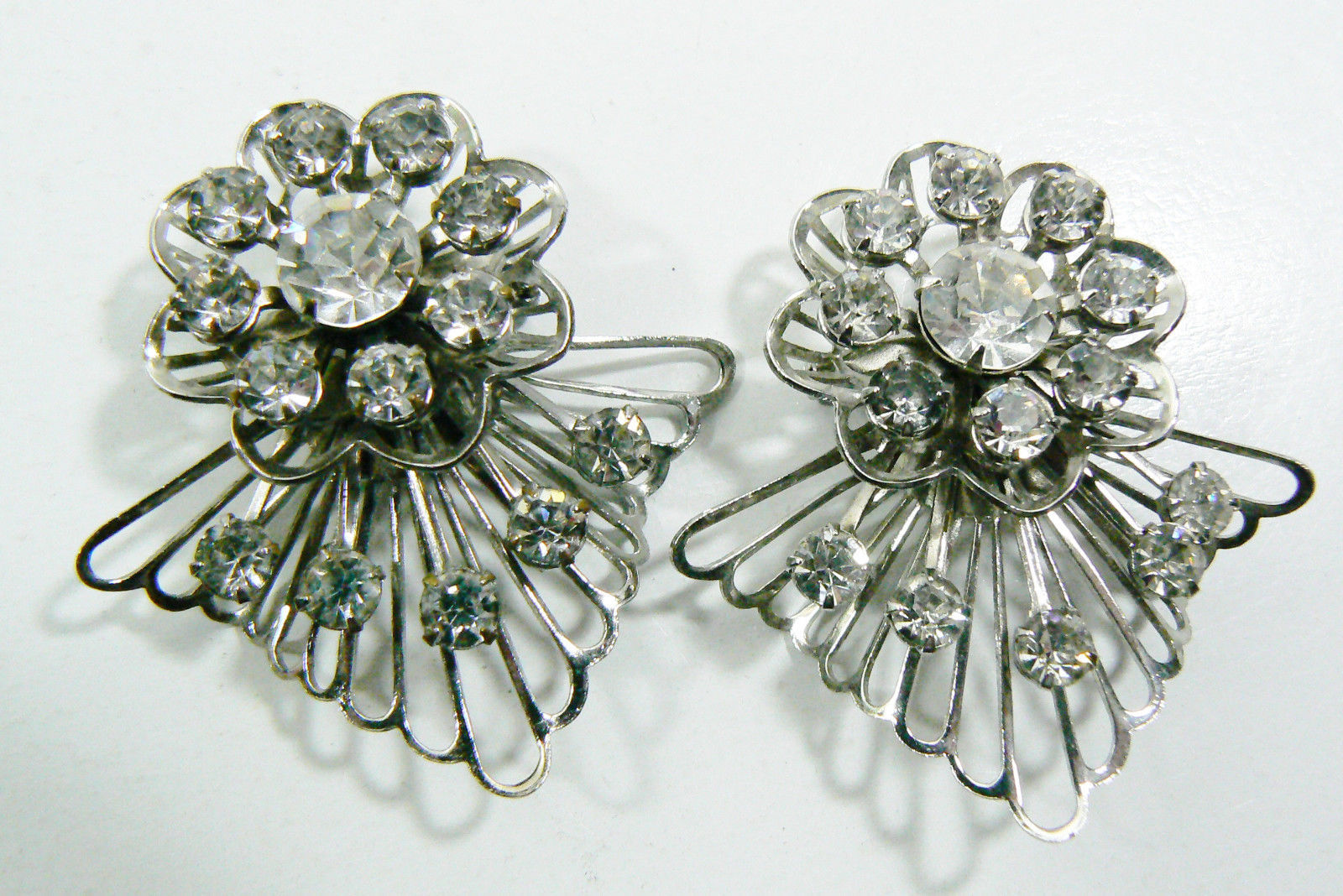 Primary image for Lot of 2 Silver tone Metal Crystal rhinestones Flower Angel pin Brooch