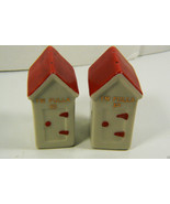 Vintage Porcelain Red Roof House I'm Fulla Salt & Pepper Shakers set wit... - $23.20