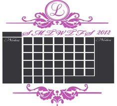Chalkboard Monthly Office 2015 Calendar Vinyl Wall Sticker - $45.00