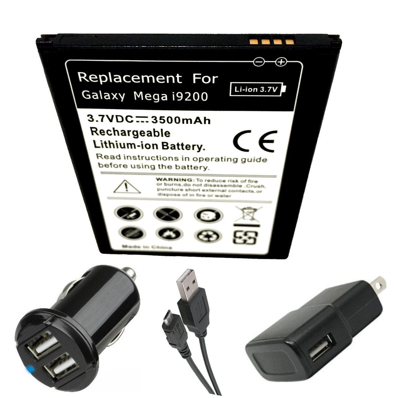 Samsung Galaxy Mega SPH-L600 Battery + Dual Car Charger + Plug + USB Data Cable
