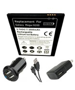 Samsung Galaxy Mega SPH-L600 Battery + Dual Car Charger + Plug + USB Dat... - $22.90