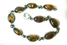 """VTG Honey color Amber Stone Sterling Silver 925 7.25""""L link  Bracelet - $103.20"""
