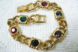 """Gold Tone Metal Jewels color crystal stones link Lock bracelet 7.25""""L - $25.60"""