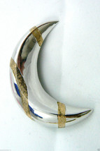 Two Tone Gold accent Sterling Silver 925 Crescent Moon Pin Brooch $0 shi... - $79.00