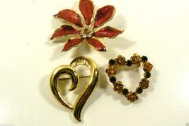 Lot of 3 Winter Love Heart Roses Poinsettia reath Enamel Crystal Pin Brooch - $39.95