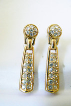 Elegant Swarovski Crystal Clear gold tone drop dangle  earrings - $103.20