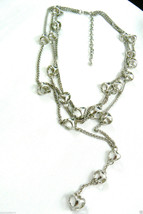 "2 Pc Set Open Ball Sphere Air Silver Tone Chain Cascade Earrings Necklace 20.5"" - $55.20"