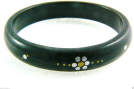 VINTAGE BLACK BANGLE BRACELET INLAY SILVER METAL FLOWERS LUCITE PLASTIC ... - $71.20