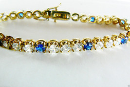 Y Gold Plate Sterling Silver 925 Clear & Blue S... - $103.20