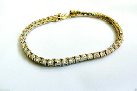 Yellow gold plate over Sterling Silver 925 Clear CZ Crystal tennis Brace... - $60.00