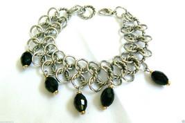 "Silver tone Link Black Glass charm beads bracelet 7.5""L - $55.20"