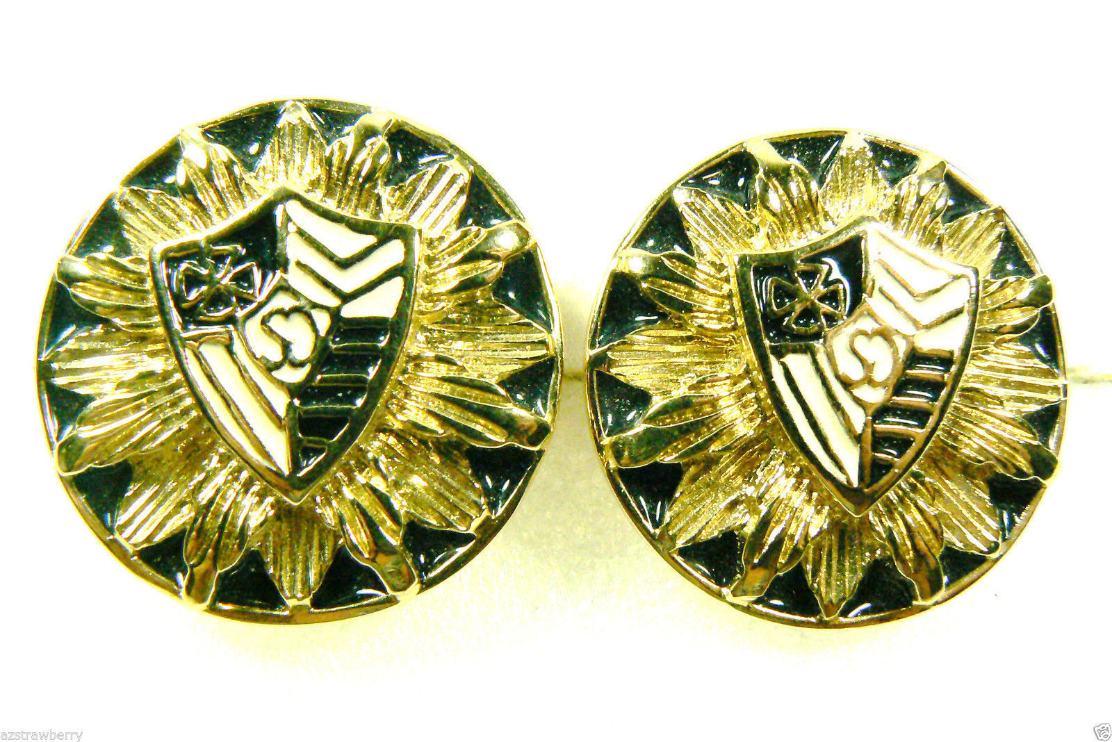 Primary image for DESIGNER ST JOHN SIGNED GOLD TONE METAL ENAMEL COAT OF ARMS ROUND CLIP EARRINGS