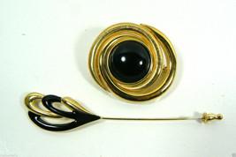 Lot of 2 Fancy Gold Tone Black Stone & Enamel MONET signed Hat Pin & Brooch - $59.00