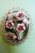Vintage Krementz Gold Tone Metal Signed Oval filigre rose flowers pin br... - $49.95
