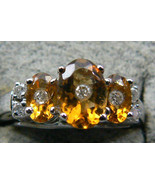 1 ctw Oval cut Citrine Brilliant Diamond 14k White Gold Ring SZ 6 New w ... - $423.20