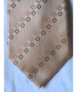 Charles Wain Uomo Venetto Beige Brown Gold Square Mens 100% Silk Necktie... - $4.99