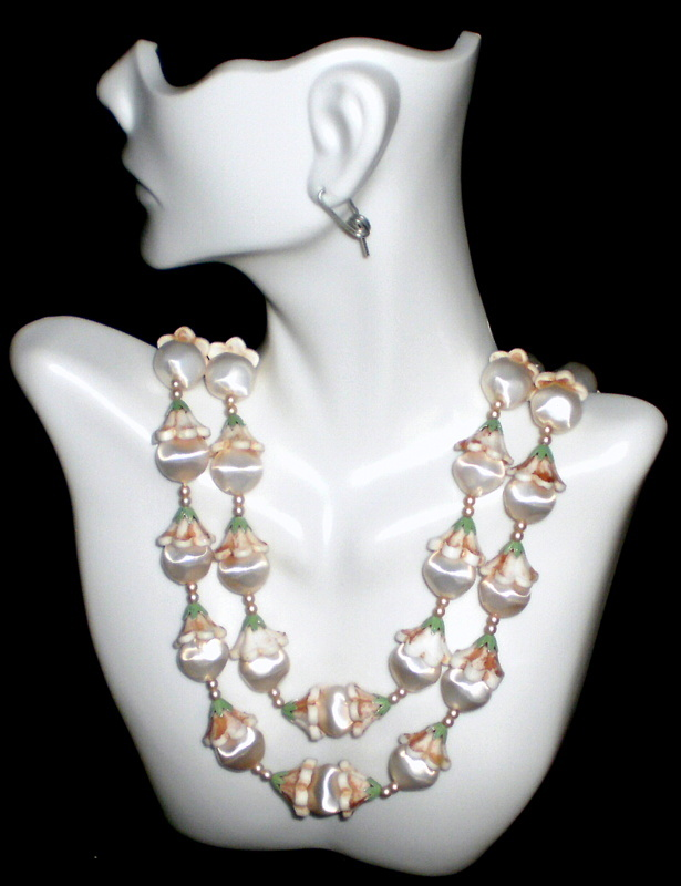 Double Strand Lucite & Celluloid Bead Japan Necklace