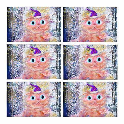 InterestPrint Pink Cat with Present at Winter Street Animal Painting Washable Fa