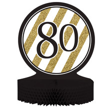 "Black & Gold 80th Birthday Honeycomb Centerpiece 12"" x 9"", Case of 6 - £28.26 GBP"