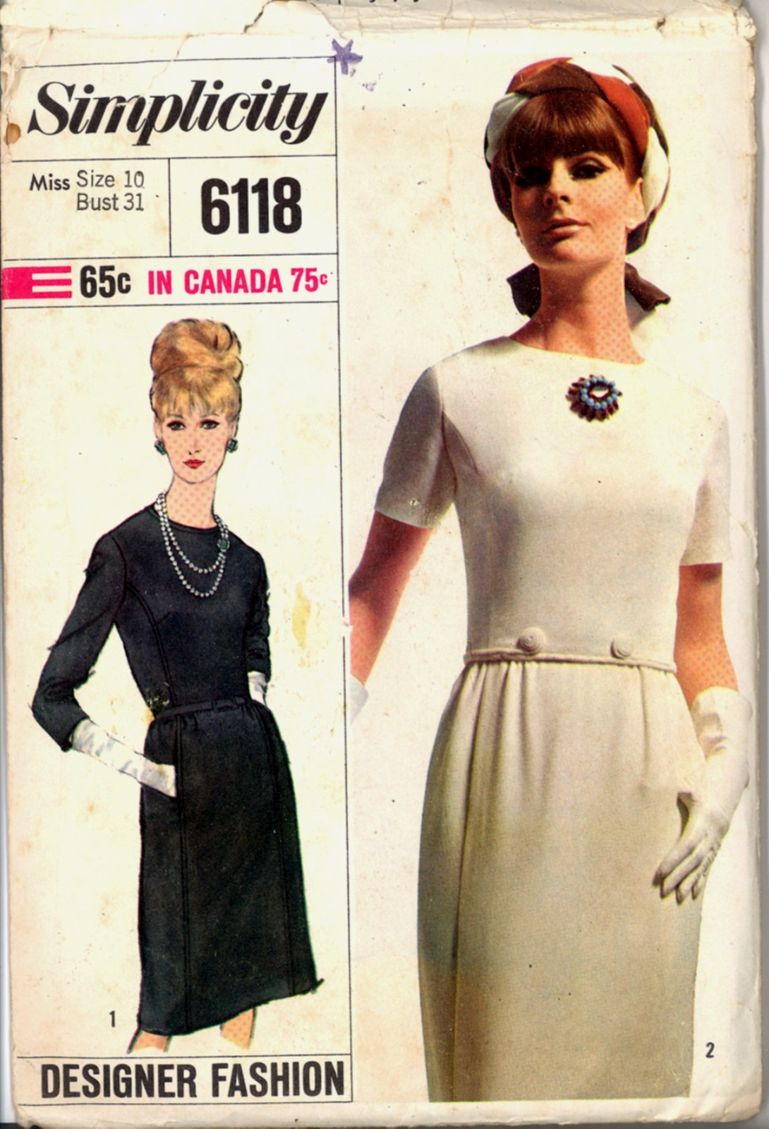 Primary image for 1960s Size 10 Bust 31 Designer Fashion Dress Simplicity 6119 Vintage Pattern