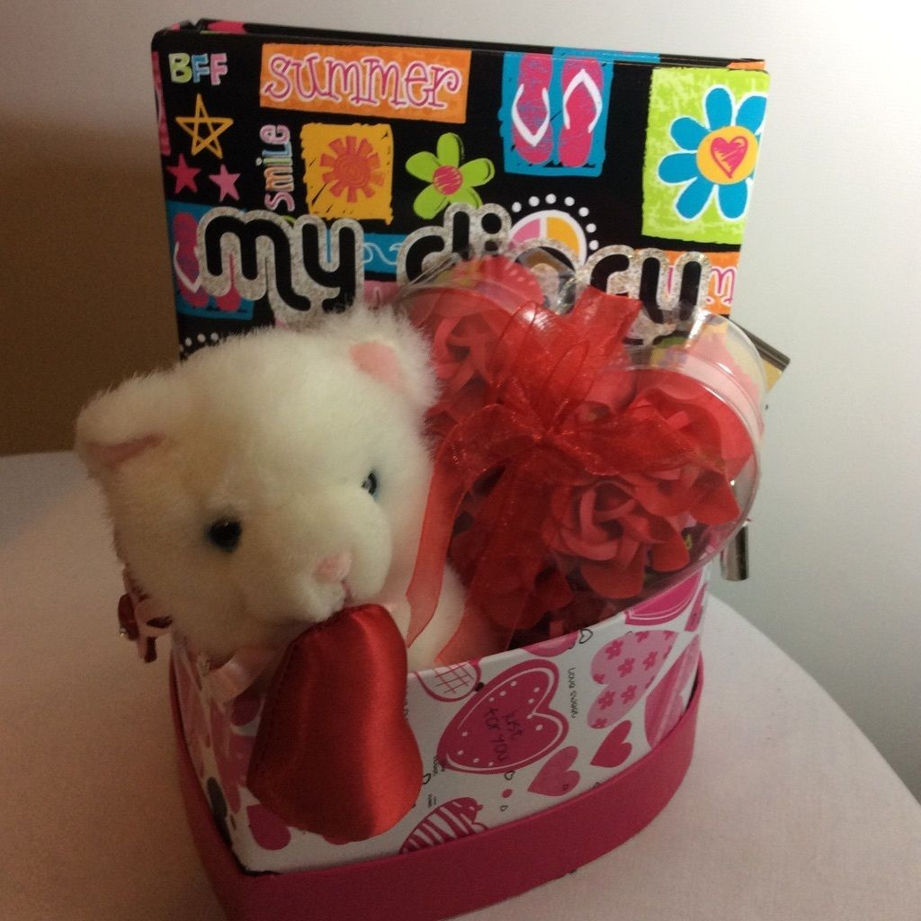 Primary image for Valentine's Gift Set For Girls; Lidded Heart Shaped Box, Locked Diary, Pen, Soap