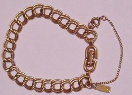 Vtg DOUBLE LINK CHAIN BRACELET SIGNED MONET - $16.50