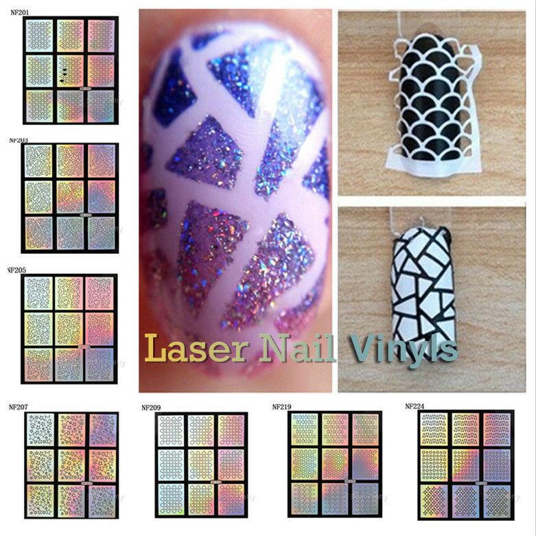 24 Sheets Laser Nail Art Guide Tips Hollow Stencil Sticker Template Vinyls Decor