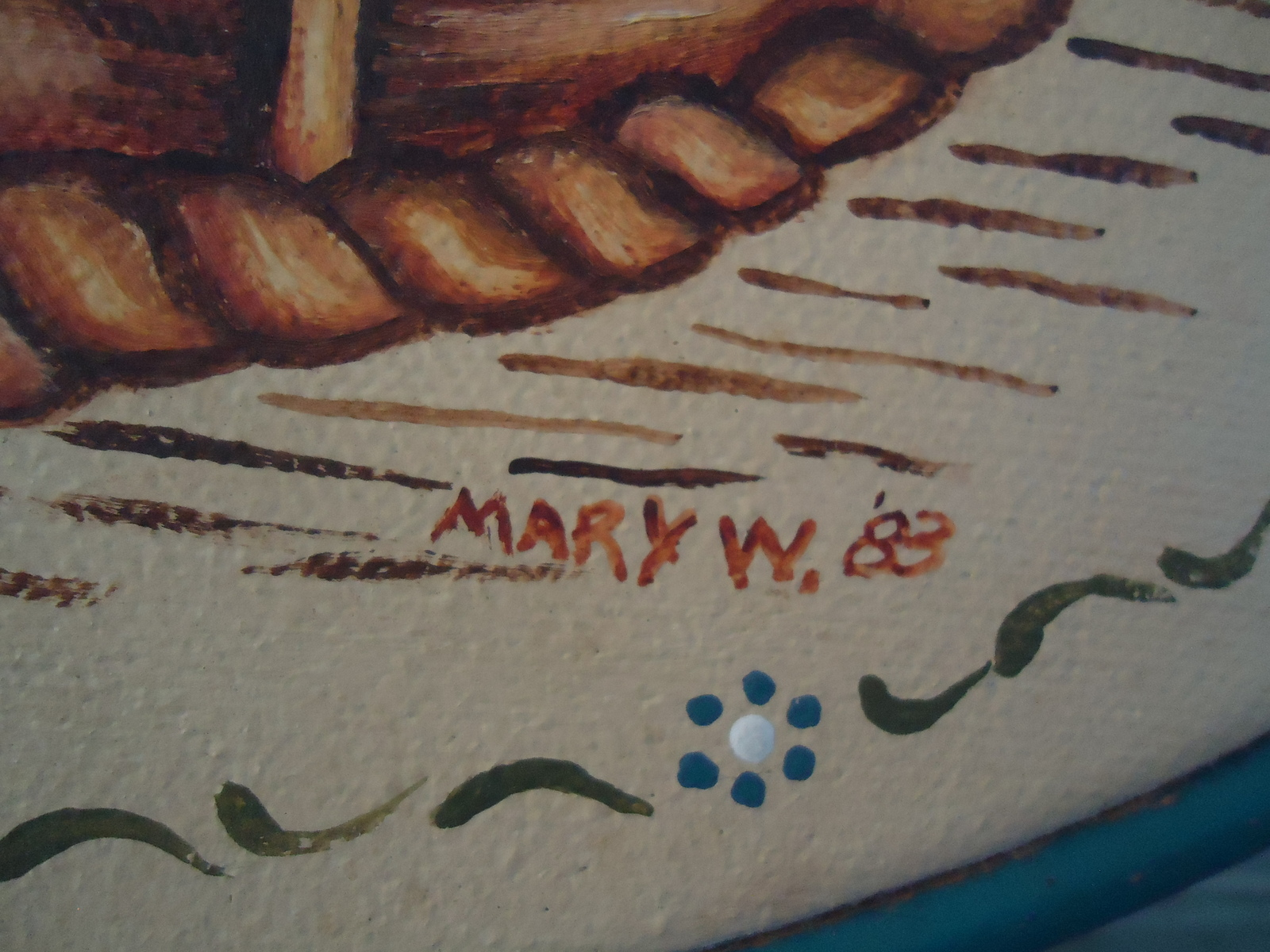 Folk Art Goose Painting Primitive Original by Mary Weiberg 1988
