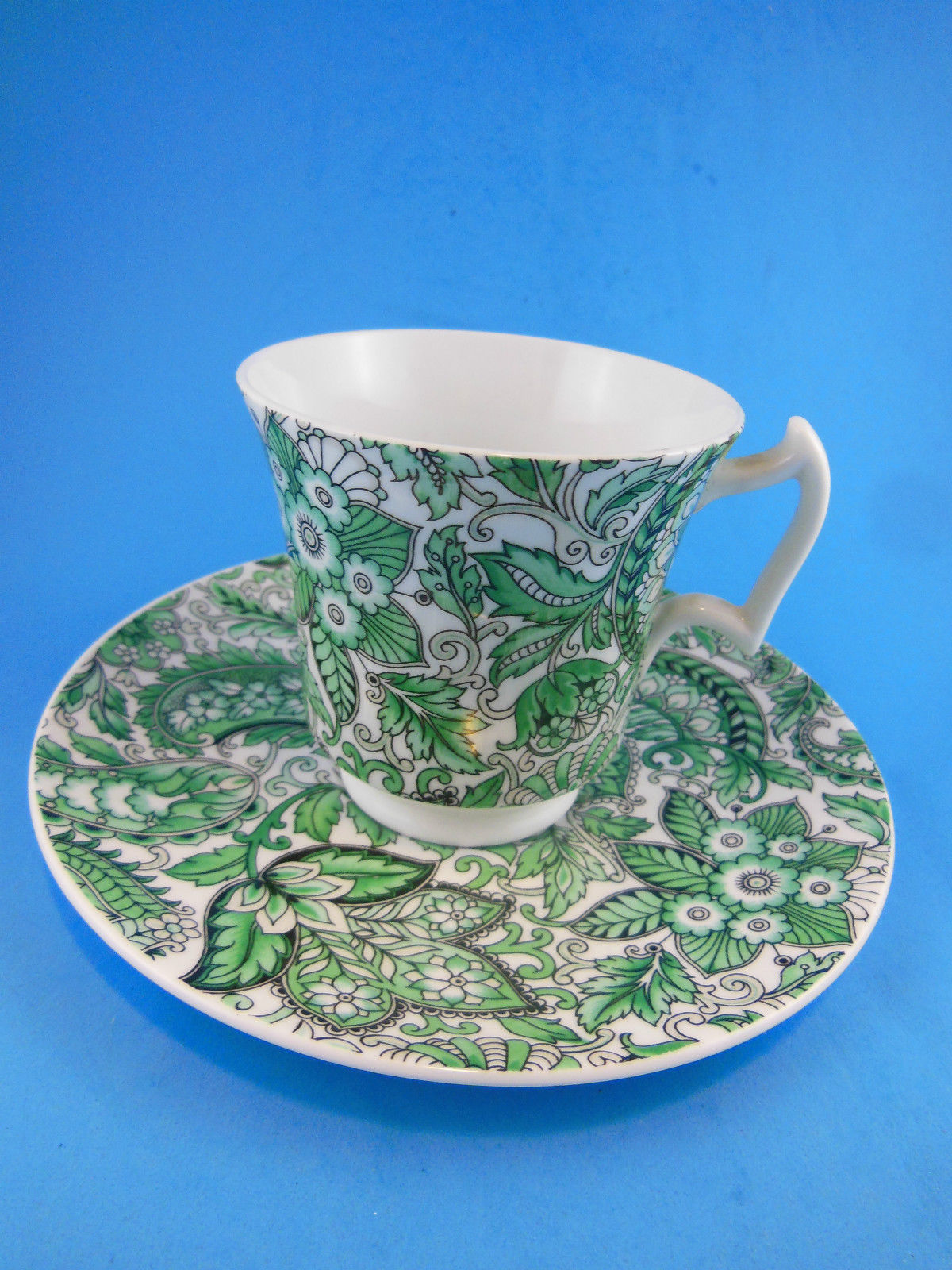 Primary image for Royal Chelsea English Bone China Cup and Saucer Green Paisley Floral England