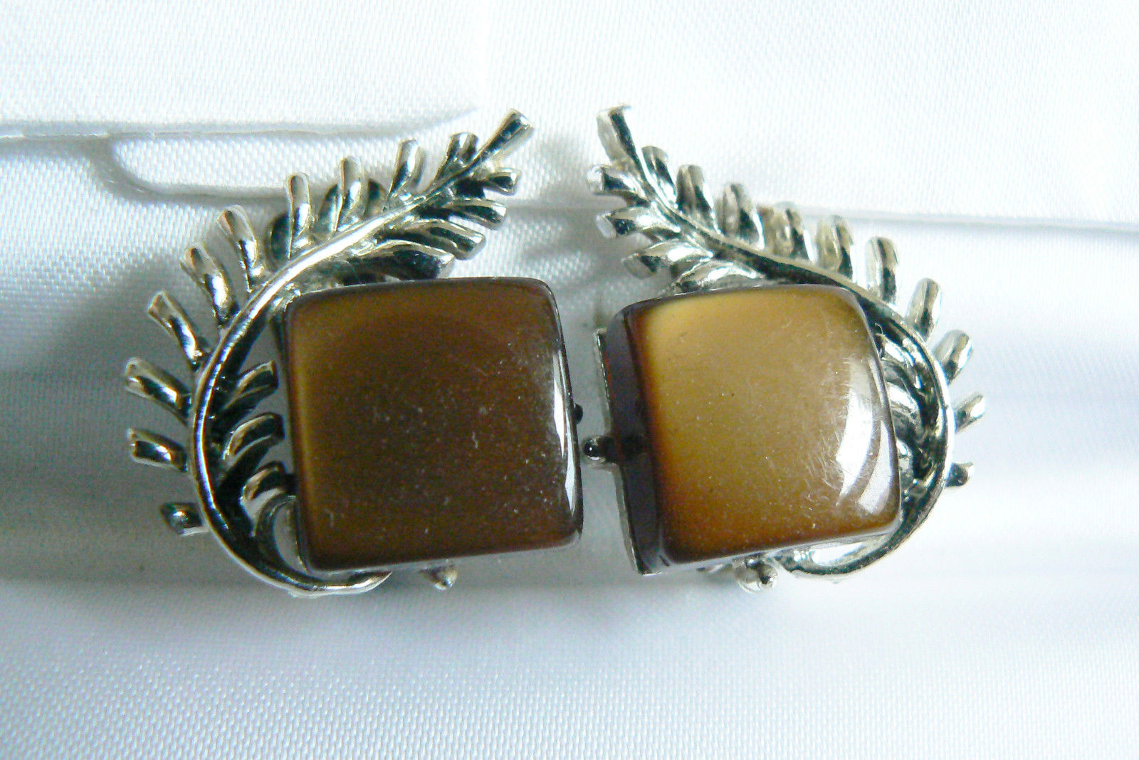 Primary image for Vintage Coro signed Silver tone metal Brown lucite Thermoset clip on earrings