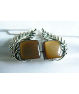 Vintage Coro signed Silver tone metal Brown lucite Thermoset clip on ear... - $24.00