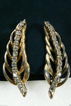 Vintage Large Gold Tone Clear Crystal Rhinestones Leaf Shape Clip On Earrings - $31.96