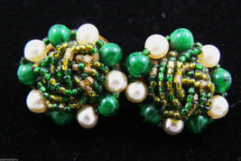 VINTAGE GERMANY GREEN BEADS WHITE PEARL FAUX CLUSTER ROUND  CLIP ON EARR... - $39.96