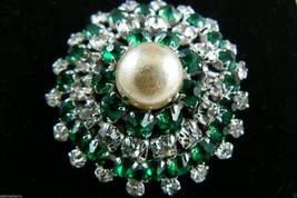 Vintage Dome Silver Tone Green Clear Crystal Rhinestone Pearl Faux Pin Brooch - $59.95
