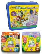 Lot of Crayola Sillyscents Sweet & Stinky Markers Purple Storage Case + Stickers