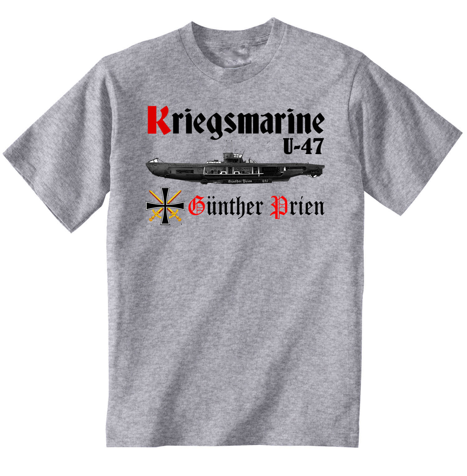 Primary image for KRIEGSMARINE U-47 GUNTHER PRIEN WWII WORLD WAR II - NEW GRAPHIC GREY TSHIRT