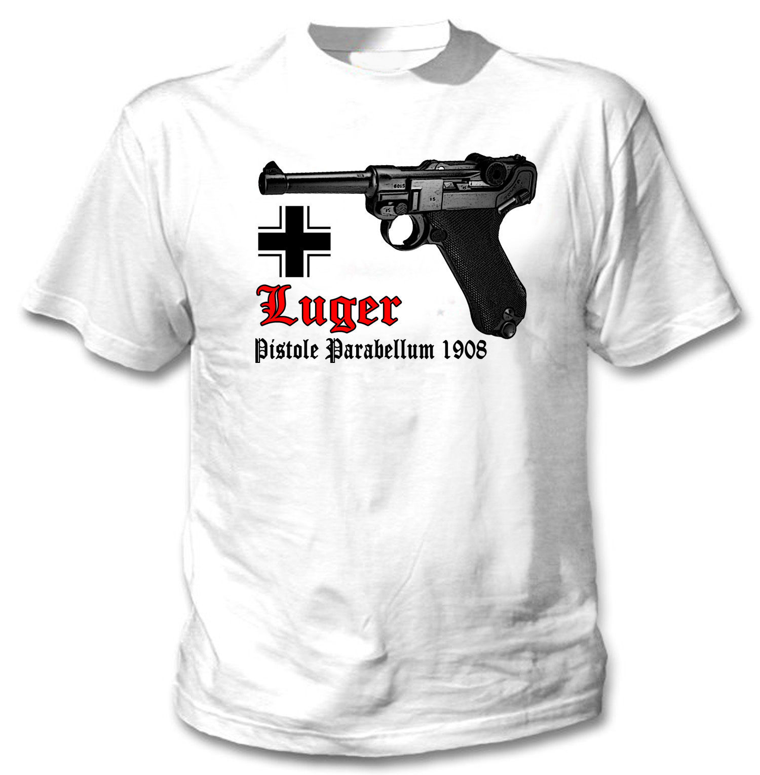 Primary image for LUGER P08 PARABELLUM GERMANY WWII - NEW COTTON TSHIRT- S-M-L-XL-XXL
