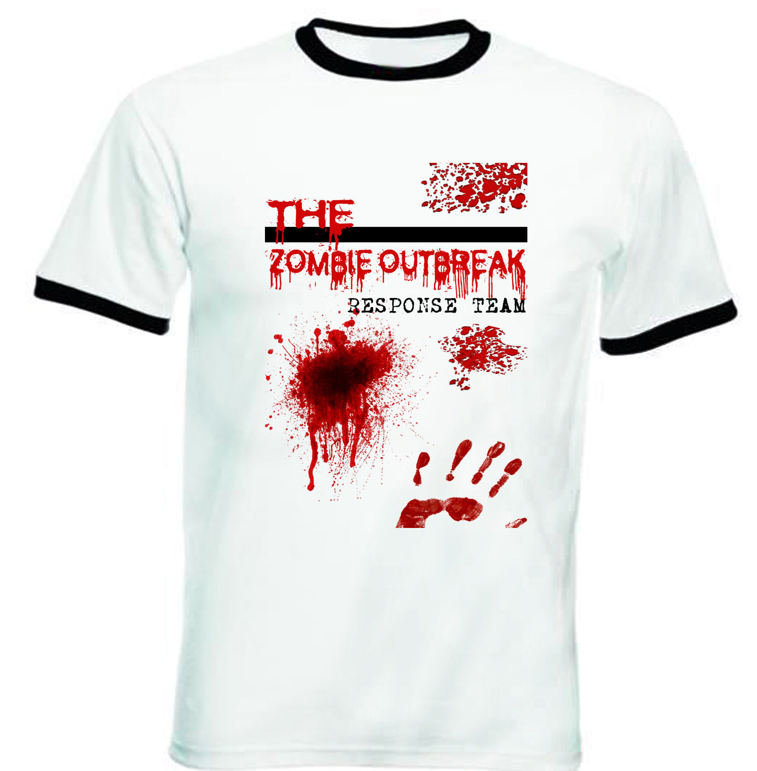 Primary image for ZOMBIES OUTBREAK - NEW BLACK RINGER TSHIRT S-M-L-XL-XXL