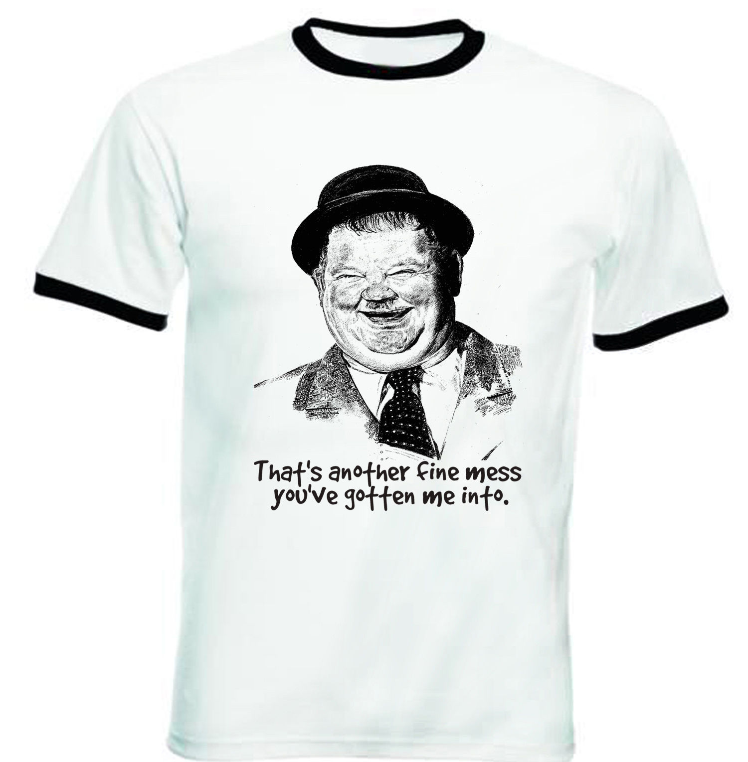 Primary image for OLIVER HARDY - NEW BLACK RINGER TSHIRT S-M-L-XL-XXL
