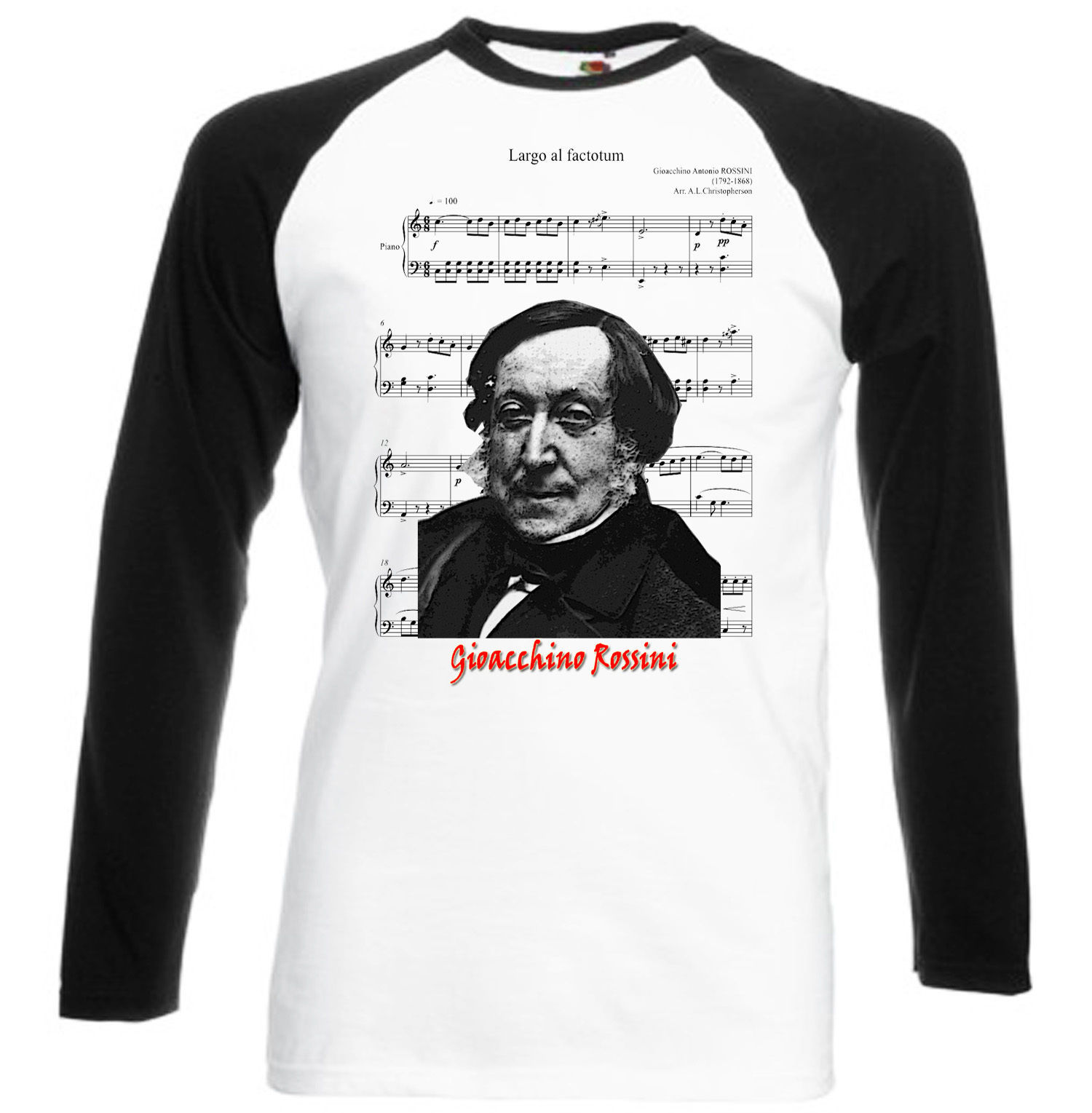 Primary image for GIOACCHINO ROSSINI - NEW GRAPHIC BLACK SLEEVED BASEBALL T-SHIRT S-M-L-XL-XXL