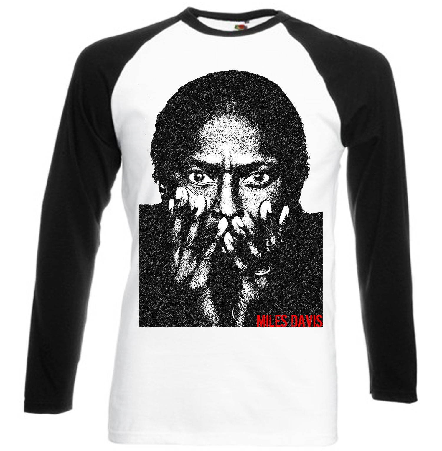Primary image for DAVIS MILES  NEW  COTTON BLACK SLEEVED BASEBALL T-SHIRT- S-M-L-XL-XXL