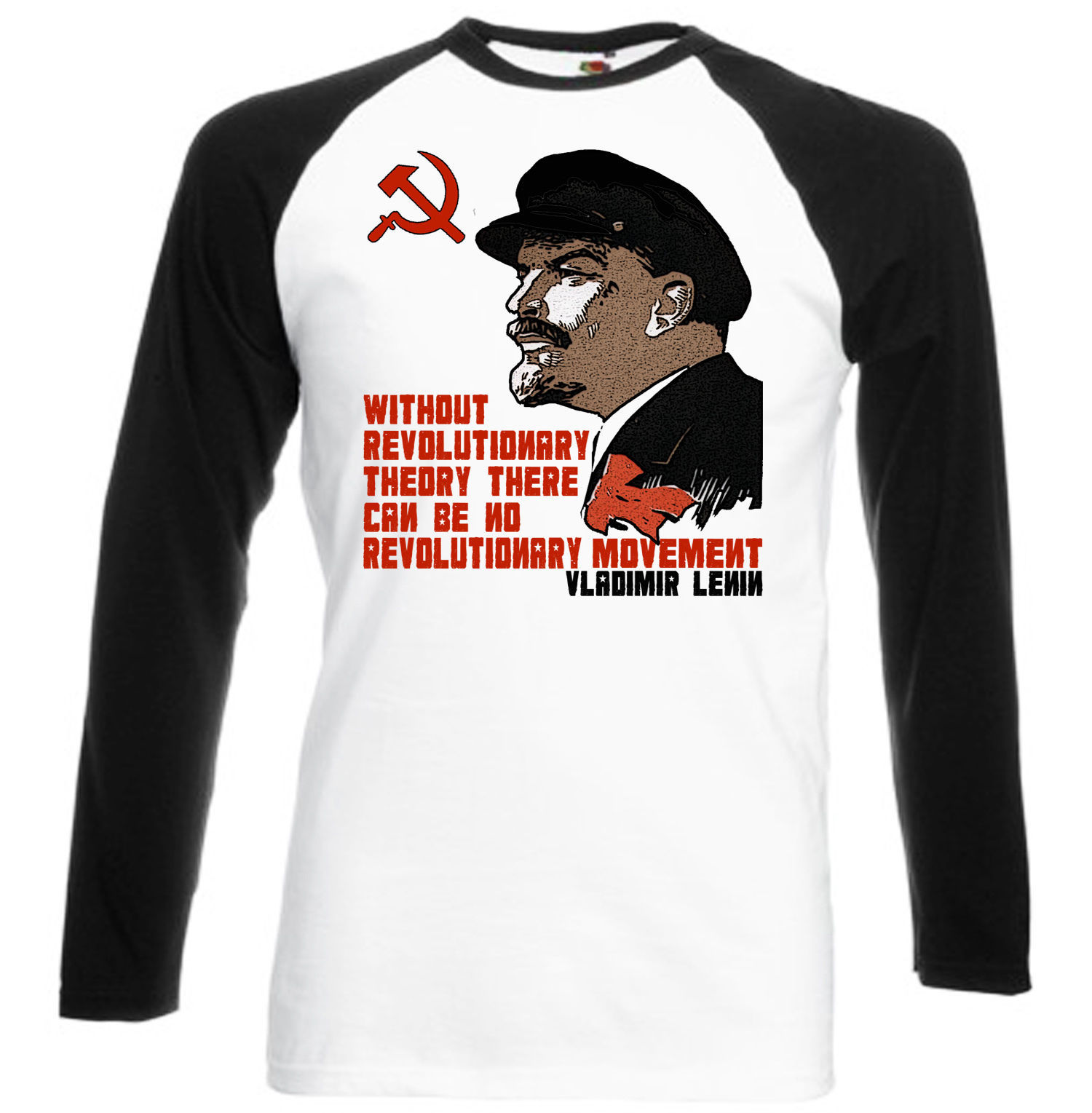 Primary image for VLADIMIR LENIN SOVIET UNION - BLACK SLEEVED BASEBALL TSHIRT S-M-L-XL-XXL