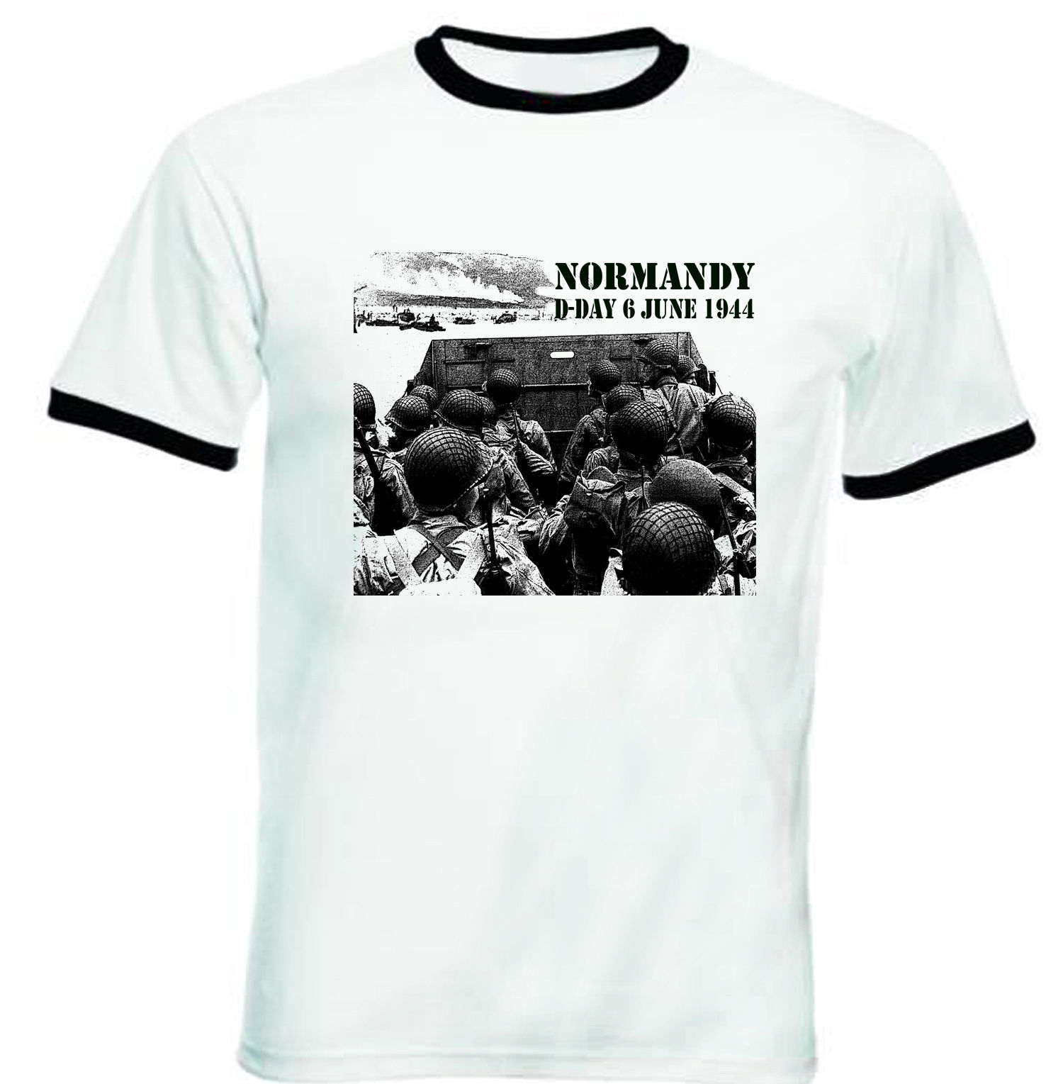Primary image for NORMANDY D-DAY - NEW BLACK RINGER TSHIRT S-M-L-XL-XXL
