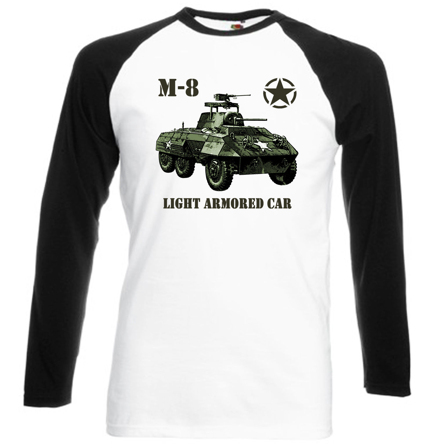 Primary image for M-8 LIGHT ARMORED CAR USA WWII - NEW BLACK SLEEVED BASEBALL TSHIRT S-M-L-XL-XXL