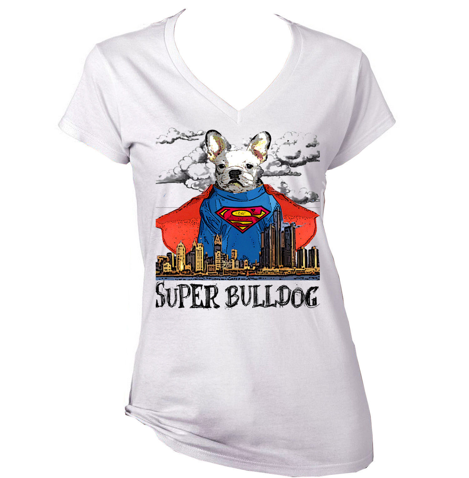 Primary image for SUPERMAN WHITE FRENCH BULLDOG  - NEW AMAZING GRAPHIC T-SHIRT - S-M-L-XL-XXL